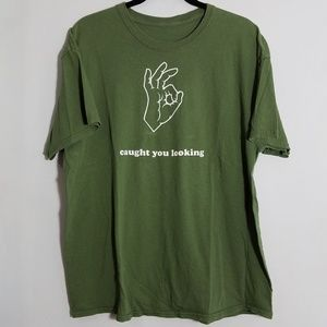 """Funny green """"caught you looking"""" print tee, XL"""